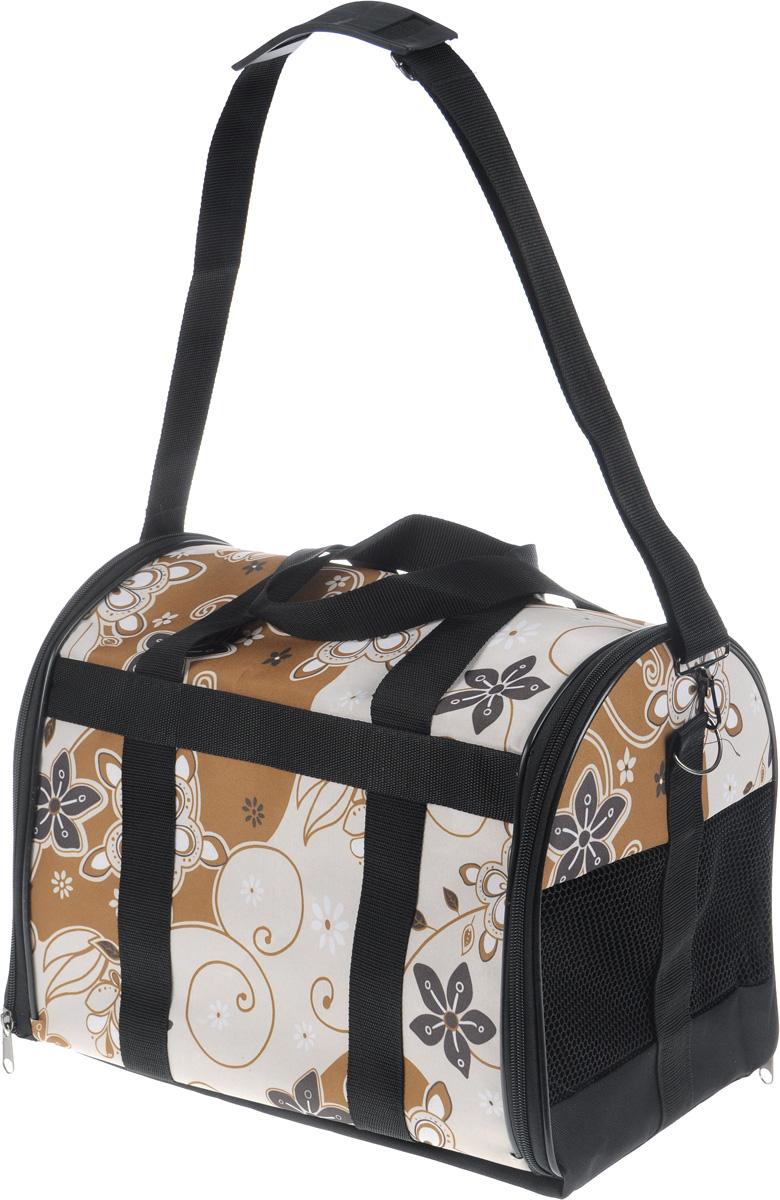 Сумка-переноска для животных ЗооМарк Цветы, цвет: коричневый, бежевый, 40 х 25 х 32 см зооник сумка переноска для животных 32 36 47см
