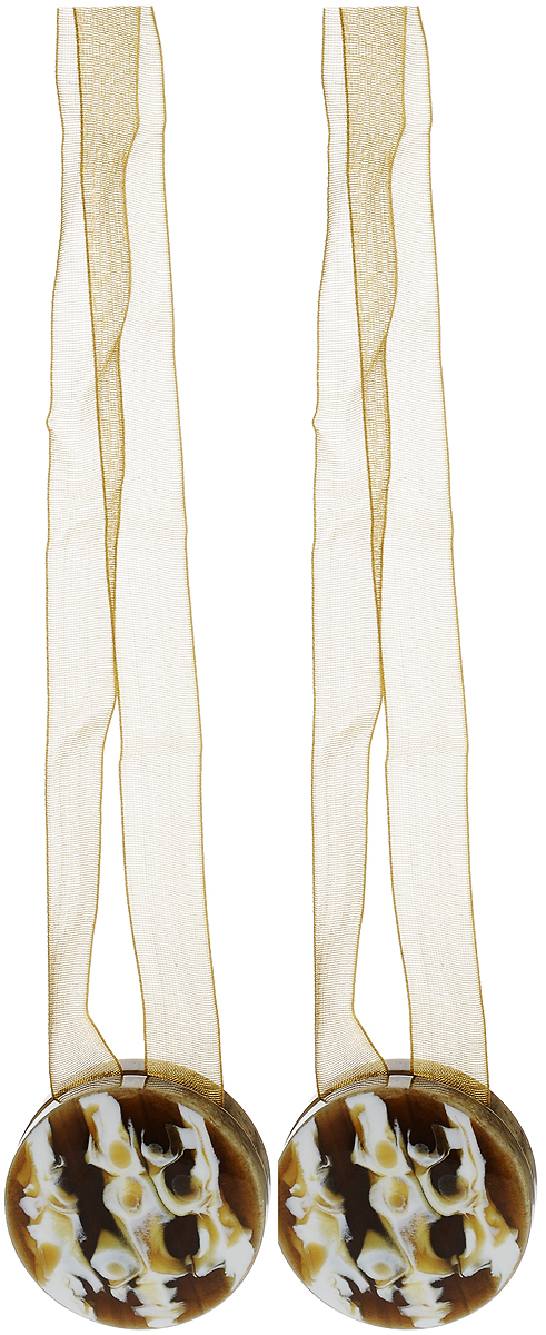 Подхват для штор TexRepublic Ajur. Lenta, на магнитах, цвет: коричневый, диаметр 4 см, 2 шт. 7901879018Изящный подхват для штор TexRepublic Ajur. Lenta, выполненный из пластика и текстиля, можно использовать как держатель для штор или для формирования декоративных складок на ткани. С его помощью можно зафиксировать шторы или скрепить их, придать им требуемое положение, сделать симметричные складки. Благодаря магнитам подхват легко надевается и снимается.Подхват для штор является универсальным изделием, которое превосходно подойдет для любых видов штор. Подхваты придадут шторам восхитительный, стильный внешний вид и добавят уют в интерьер помещения.Длина подхвата: 36 см.Диаметр: 4 см.Количество: 2 шт.