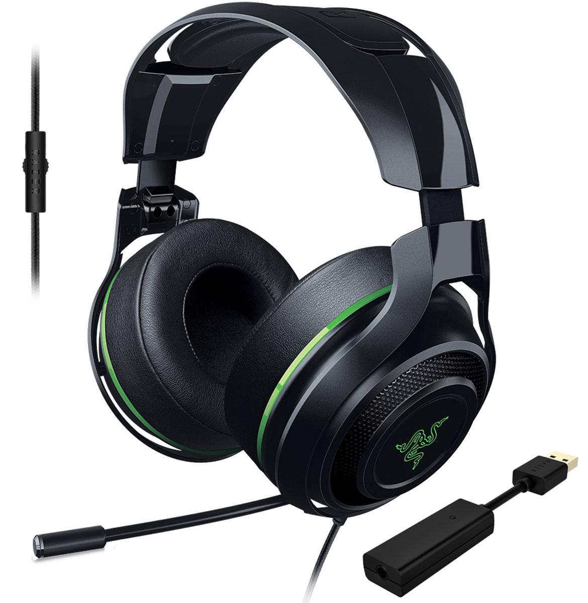 Razer ManO'War 7.1, Green игровые наушникиRZ04-01920300-R3M1Выйти на новый уровень звучания вам позволит игровая гарнитура Razer ManOWar 7.1. Благодаря современной системе виртуального объемного звука формата 7.1 и мягким, большим амбушюрам с хорошей шумоизоляцией вы словно оказываетесь в самом центре событий. Увеличенные динамики превосходного качества обеспечивают бесспорную реалистичность звукового окружения, а выдвижной микрофон позволяет с комфортом руководить победным наступлением.Заручитесь преимуществом абсолютного погружения в игру, которое дает вам Razer ManOWar 7.1, и наслаждайтесь торжеством победы в каждой битве.Гарнитура Razer ManOWar 7.1 оснащена запатентованной системой формирования виртуального объемного звука в формате 7.1. Система с самого начала разрабатывалась, чтобы дать возможность с головой уйти в игру. Специальный USB-адаптер обрабатывает аудио с минимальной задержкой и модулирует источник звука, формируя впечатляющее, реалистичное звуковое окружение.Гарнитура Razer ManOWar 7.1 обеспечивает реалистичное звучание игрового класса благодаря большим 50-миллиметровым динамикам с индивидуальной настройкой. Закрытая конструкция наушников и мягкая окантовка по краю амбушюр гарантируют качественную шумоизоляцию. Вы сможете уделять все внимание игре, не отвлекаясь на посторонние звуки.Настраивайте звук в пылу сражений, используя аналоговый MEMS-микрофон со встроенным пультом. Гибкий телескопический микрофон выдвигается из левого амбушюра тогда, когда вам нужно. Вы можете его точно отрегулировать, чтобы добиться кристально четкого звучания.Кросс-платформенная совместимость обеспечивается благодаря отсоединяемому USB ЦАПу. К примеру, вы сможете мгновенно переключить гарнитуру Razer ManOWar 7.1 с ПК на мобильное устройство. На проводе имеется пульт управление громкостью, а микрофон убирается внутрь чашки наушников.Микрофон:Выдвижная конструкция микрофонаКнопка отключения микрофона на проводеЧастотные характеристики: 100-10000 ГцСоотношение сигнал/шум: > 