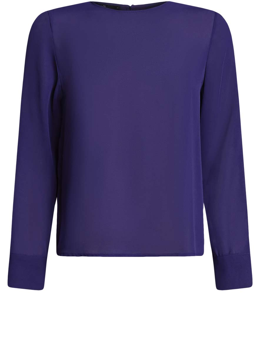 Блузка женская oodji Ultra, цвет: синий. 11411129/45192/7500N. Размер 38 (44-170)