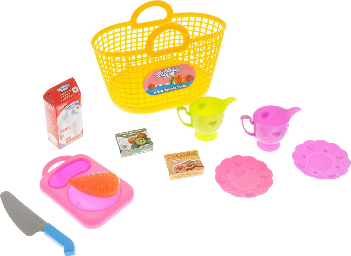 ABtoys Набор посуды для кухни в корзине цвет желтый