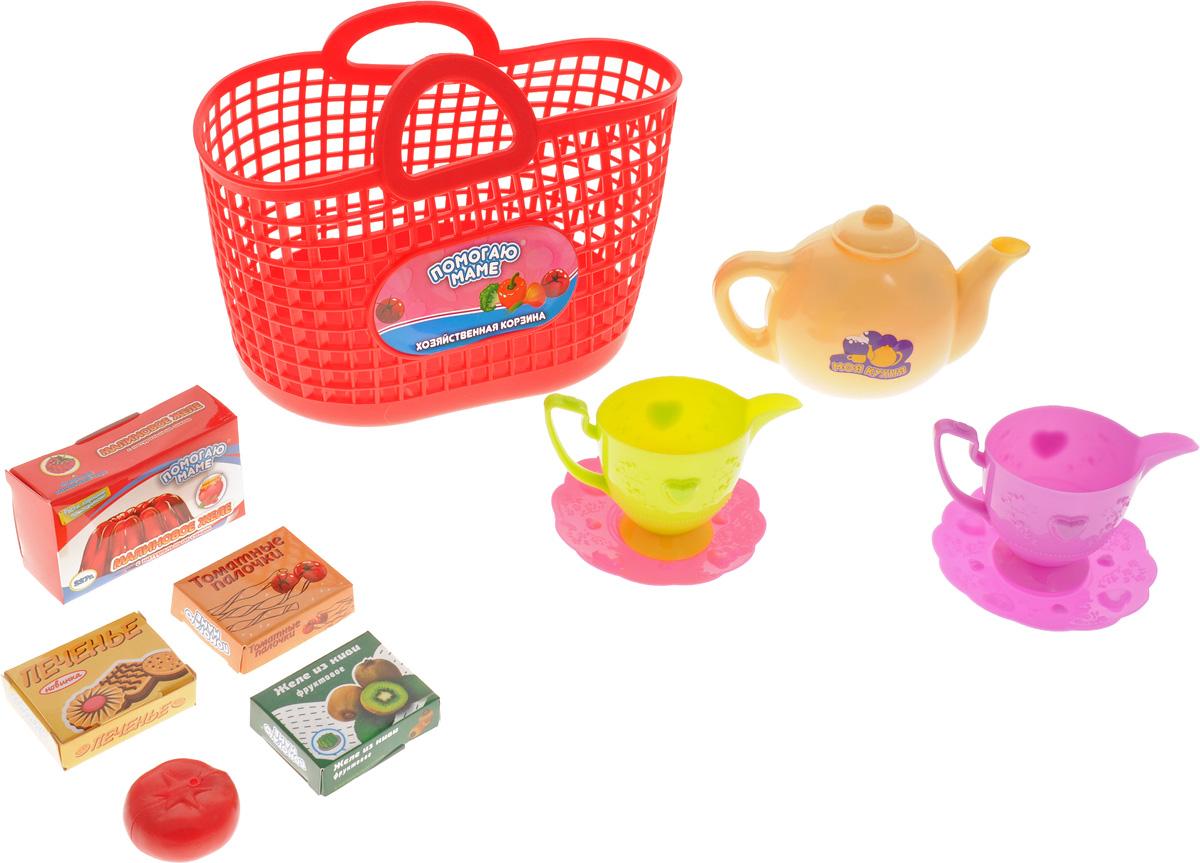 ABtoys Игрушечный набор посуды в корзине 10 предметов цвет красный посуда кухонная