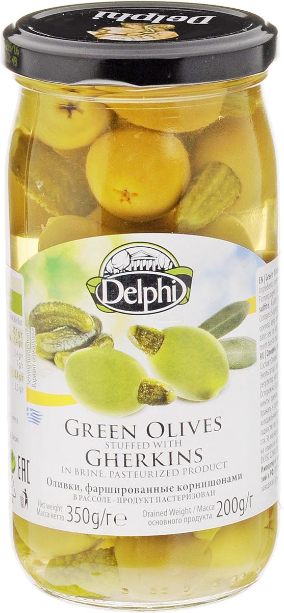 Delphi Оливки фаршированные корнишонами, 350 г вафли обожайка со вкусом томленого молока 225 г
