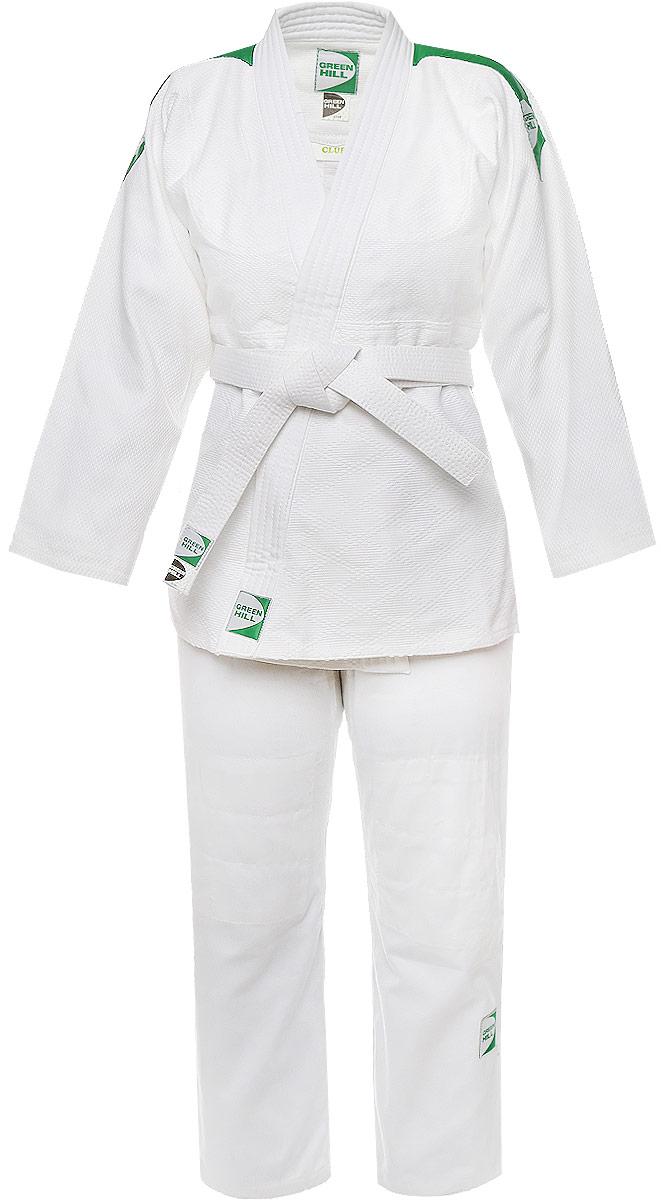 Кимоно для дзюдо Green Hill Club, цвет: белый. JSC-10395. Размер 2/150JSC-10395Кимоно для дзюдо Green Hill Club, состоящее из куртки и брюк, выполнено из натурального хлопка. Просторная куртка с глубоким запахом и рукавом 7/8 дополнена поясом. Нижняя часть модель по бокам дополнена разрезами. Укороченные брюки особого покроя имеют эластичный пояс на талии.