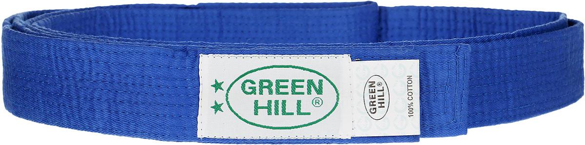 Пояс для карате Green Hill, цвет: синий. KBO-1014. Размер 260KBO-1014Пояс для карате Green Hill - универсальный пояс для кимоно. Пояс выполнен из плотного хлопкового материала с многорядной прострочкой. Модель дополнена текстильной нашивкой с названием бренда.