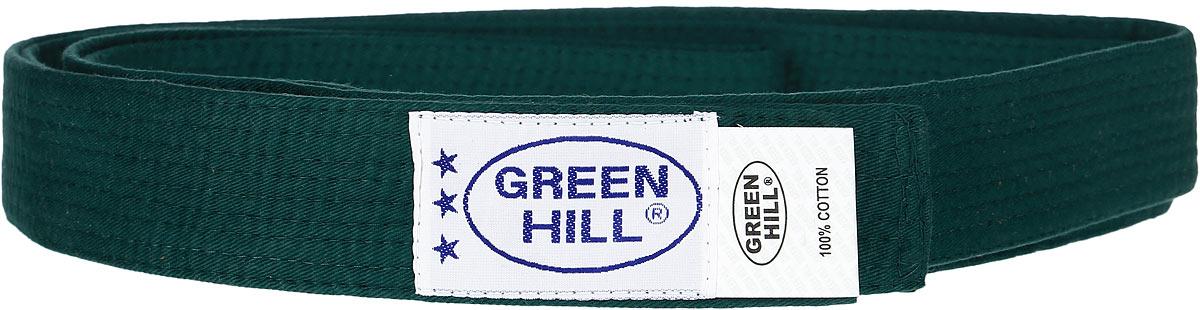 Пояс для карате Green Hill, цвет: зеленый. KBO-1014. Размер 250KBO-1014Пояс для карате Green Hill - универсальный пояс для кимоно. Пояс выполнен из плотного хлопкового материала с многорядной прострочкой. Модель дополнена текстильной нашивкой с названием бренда.