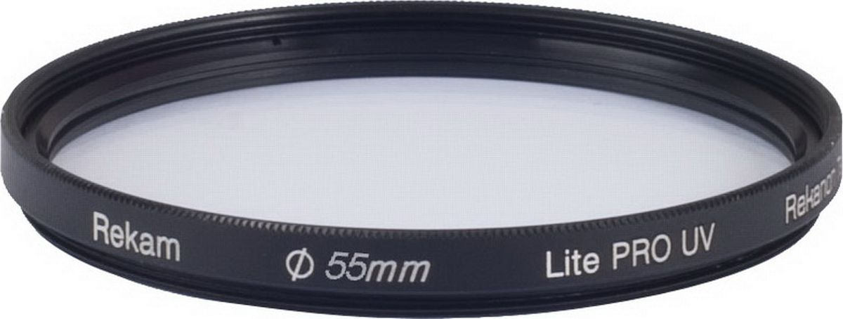 Rekam Lite Pro UV 55-2LC ультрафиолетовый фильтр, 55 мм1601002314Ультрафиолетовый фильтр Rekam Lite Pro UV 55-2LC с многослойным просветлением предназначен для защиты от ультрафиолетовых лучей. Он повышает контрастность снимков, а также защищает объектив от физических повреждений, пыли, капель и отпечатков пальцев.Светофильтры Rekam - это надежный и удобный инструмент для работы профессиональных фотографов. С их помощью можно создавать фотоматериалы, которые невозможно получить обработкой на компьютере.Оптическое стекло фильтра покрыто специальным двухслойным составом, который снижает потери света при отражении от поверхности фильтра. На оправу фильтра нанесено специальное черное антибликовое покрытие.Водоотталкивающее покрытие
