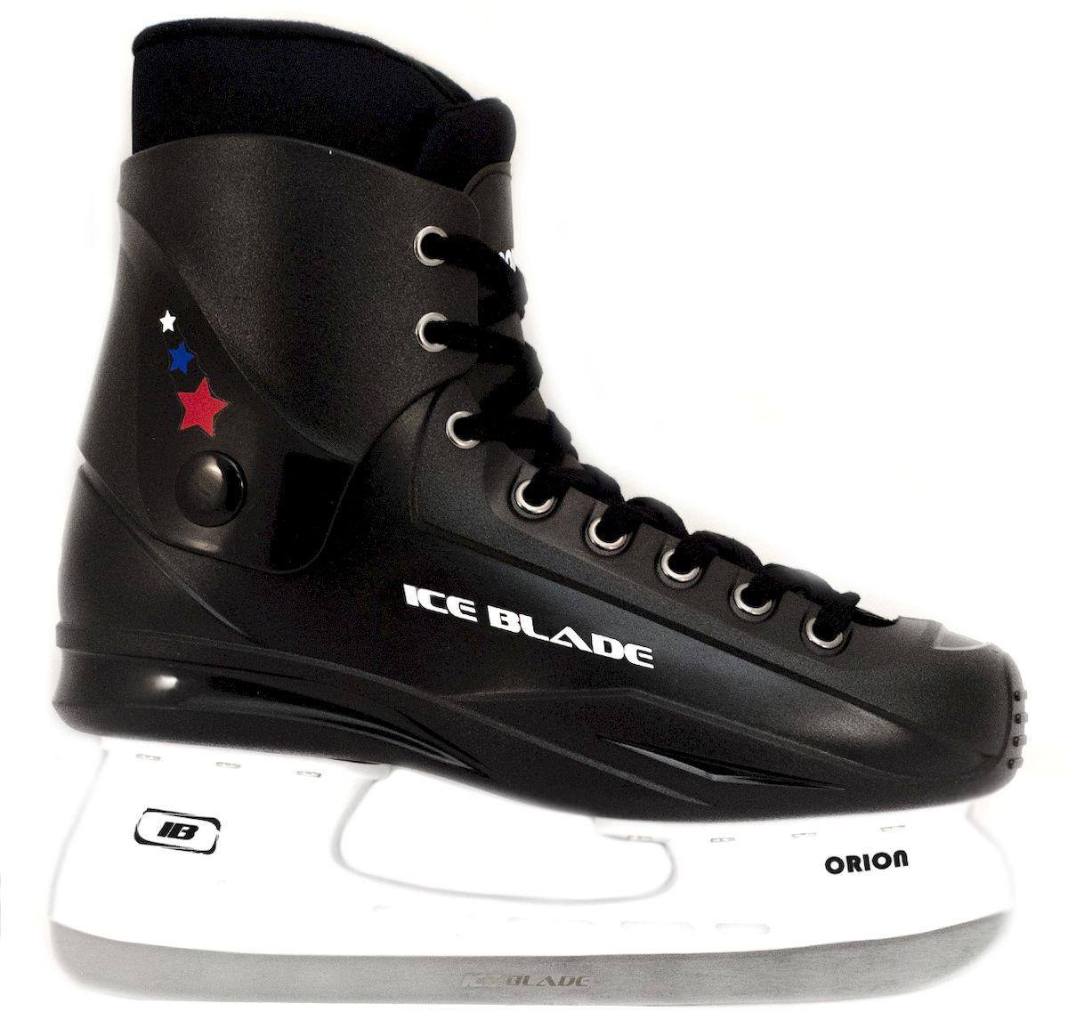Коньки хоккейные Ice Blade Orion, цвет: черный. УТ-00004984. Размер 46УТ-00004984Коньки хоккейные Ice Blade Orion - это хоккейные коньки для любых возрастов. Конструкция прекрасно защищает стопу, очень комфортна для активного катания, а также позволяет играть в хоккей. Легкий ботинок очень комфортный как для простого катания на льду, так и для любительского хоккея. Ботинок выполнен из высококачественного морозостойкого пластика и нейлоновой сетки. Внутренний сапожок утеплен мягким и дышащим вельветом, а язычок усилен специальной вставкой для большей безопасности стопы. Лезвие изготовлено из высокоуглеродистой стали, что гарантирует прочность и долговечность.Удобная система фиксации ноги и улучшенная колодка сделают катание комфортным и безопасным.