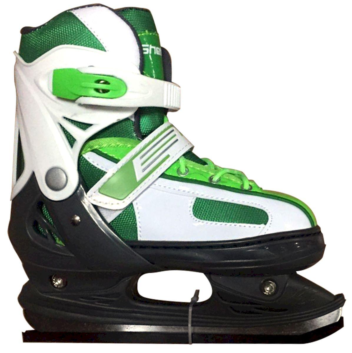 Коньки ледовые Ice Blade Shelby, раздвижные, цвет: черный, зеленый, белый. УТ-00009127. Размер S (30/33)УТ-00009127Коньки раздвижные Shelby - это классические раздвижные коньки от известного бренда Ice Blade, которые предназначены для детей и подростков, а также для тех, кто делает первые шаги в катании на льду.Ботинок изготовлен из морозоустойчивого пластика. Внутренняя поверхность из мягкого и теплого текстиля обеспечивает комфорт во время движения. Лезвие выполнено из высокоуглеродистой стали с покрытием из никеля. Пластиковая клипса с фиксатором, хлястик на липучке и шнуровка надежно фиксируют голеностоп. Конструкция коньков позволяет быстро и точно изменять их размер. Яркий молодежный дизайн, теплый внутренний сапожок, удобная трехуровневая система фиксации ноги, легкая смена размера, надежная защита пятки и носка - все это бесспорные преимущества модели. Коньки поставляются с заводской заточкой лезвия, что позволяет сразу приступить к катанию и не тратить денег на заточку. Предназначены для использования на открытом и закрытом льду.