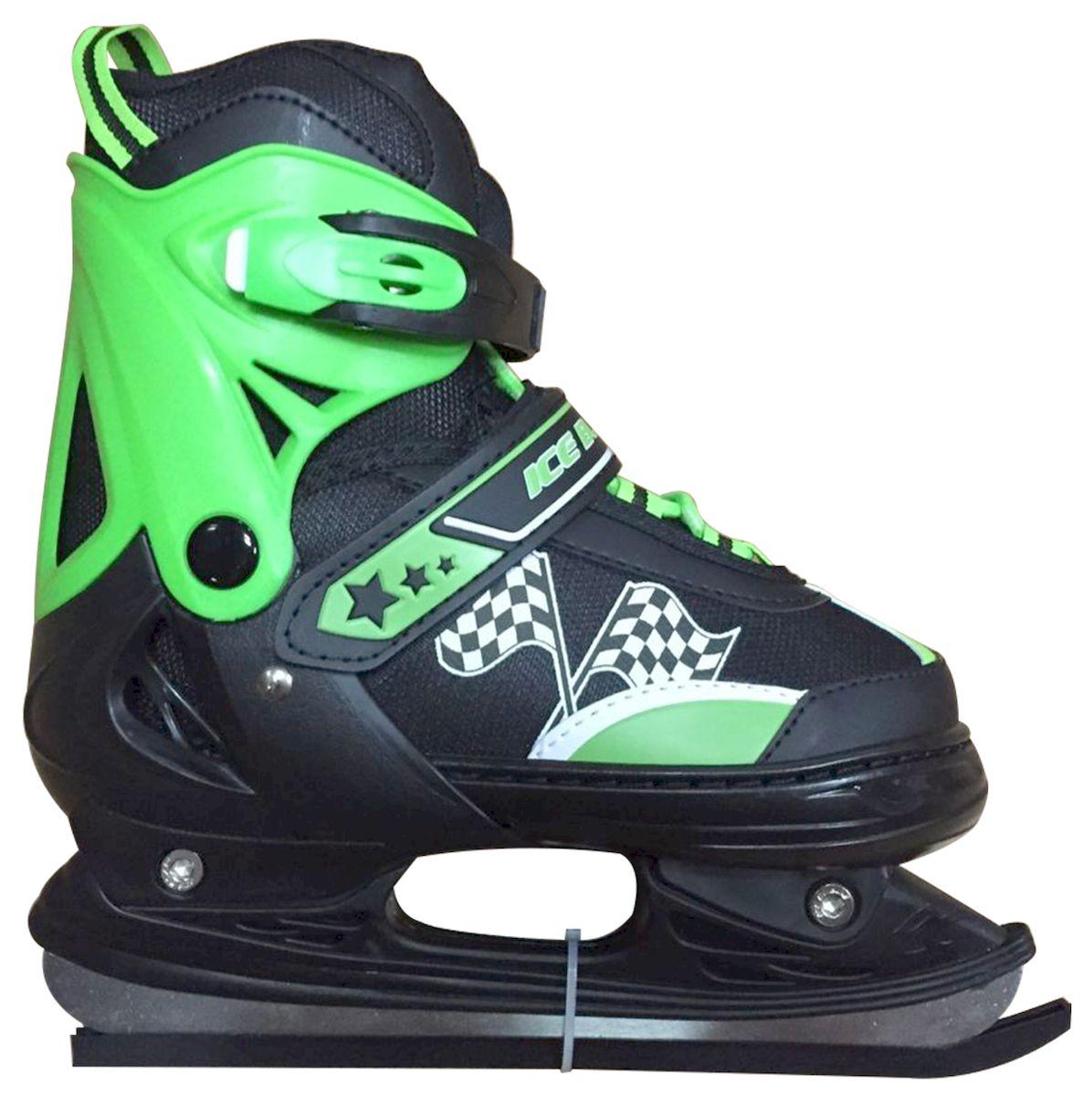 Коньки ледовые Ice Blade Winner, раздвижные, цвет: черный, зеленый. УТ-00006879. Размер XS (27/30)