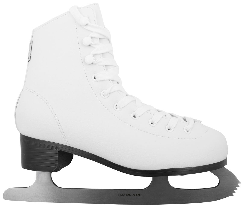 Коньки фигурные Ice Blade Todes, цвет: белый. УТ-00004985. Размер 28УТ-00004985Коньки классической формы Ice Blade Todes предназначены для любительского фигурного катания. Ботинок анатомической конструкции выполнен из высококачественной искусственной кожи, покрытой полиуретаном. Внутренняя набивка из специального материала, комфортно адаптирующегося к форме ноги. Внутренняя отделка из мягкого материала. Лезвие выполнено из высокоуглеродистой стали с покрытием из никеля, что гарантирует прочность и долговечность. Удобная система фиксации ноги и улучшенная колодка сделают катание невероятно комфортным и безопасным. Предназначены для использования на открытом и закрытом льду.
