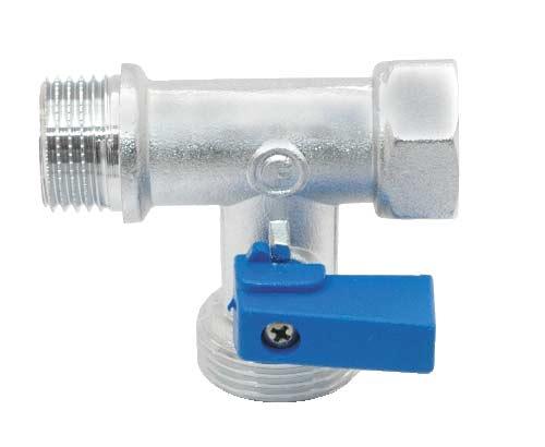 Кран шаровой Fornara, трехпроходной, 1/2 x 3/4 х 1/2124D-E-RTBOКран Fornara предназначен для подключения бытовой техники (стиральных и посудомоечных машин) к магистральным трубопроводам с циркуляцией горячих и холодных неагрессивных жидкостей.Диапазон рабочих температур: от +5°C до +95°C.Рабочее давление: 10 бар.Корпус крана покрыт никелем и хромирован гальваническим способом.Корпус обрабатывается пескоструйным способом.