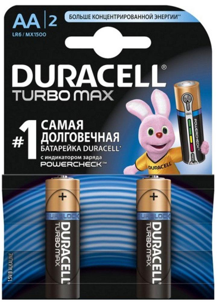 Набор алкалиновых батареек Duracell Turbo MAX, тип AA, 2 шт706012Набор батареек Duracell Turbo Max предназначен для использования в различных электронных устройствах небольшого размера, например в пультах дистанционного управления, портативных MP3-плеерах, фотоаппаратах, различных беспроводных устройствах. Батарейки оснащены индикатором заряда. Тип элемента питания: AA (LR6).Тип электролита: щелочной.Выходное напряжение: 1,5 В.Комплектация: 2 шт.