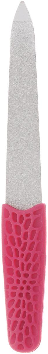 Пилка металлическая Solinberg 034, прорезиненная ручка Soft-Touch, алмазное покрытие, цвет: малиновый, длина 12,5 см