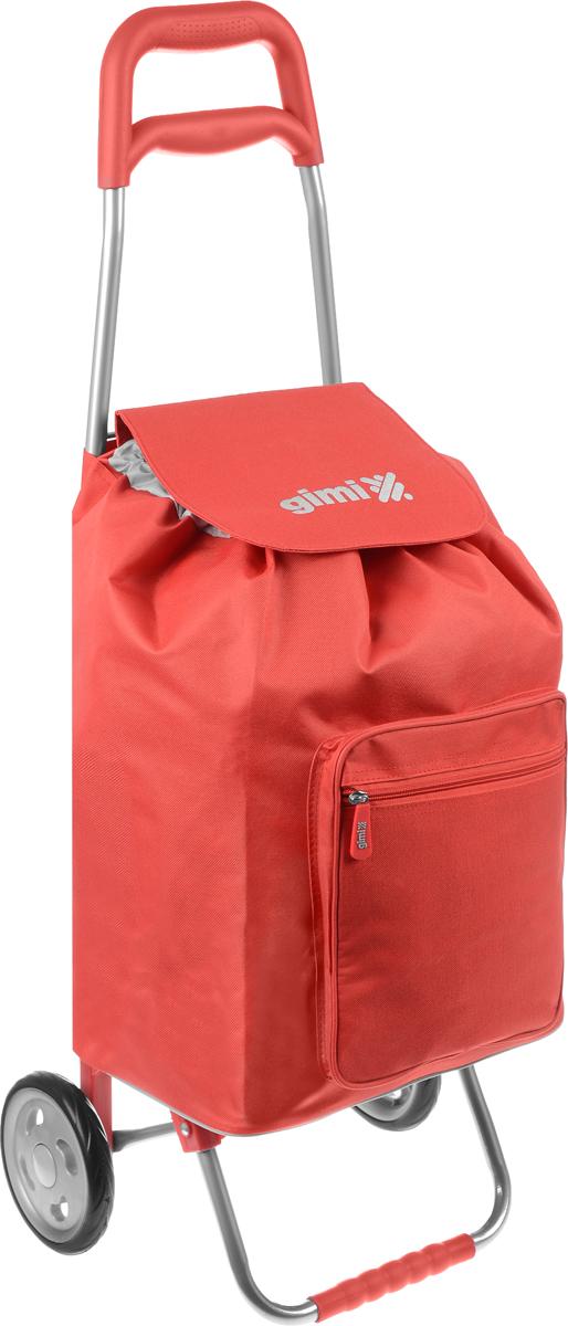 Сумка-тележка Gimi Argo, цвет: красный, серый, 45 л1551550080000/10000Хозяйственная сумка-тележка Gimi Argo выполнена из высококачественного полиэстера со стальным каркасом. Она оснащена 1 вместительным отделением, закрывающимся на шнурок. Спереди расположен карман на застежке-молнии. Сумка водоустойчива, оснащена 2 колесами, обеспечивающими удобство транспортировки. Для компактного хранения сумку можно сложить.Максимальная нагрузка: 30 кг.