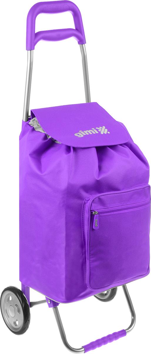 Сумка-тележка Gimi Argo, цвет: фиолетовый, серый, 45 л1551550040000Хозяйственная сумка-тележка Gimi Argo выполнена из высококачественного полиэстера со стальным каркасом. Она оснащена 1 вместительным отделением, закрывающимся на шнурок. Спереди расположен карман на застежке-молнии. Сумка водоустойчива, оснащена 2 колесами, обеспечивающими удобство транспортировки. Для компактного хранения сумку можно сложить.Максимальная нагрузка: 30 кг.