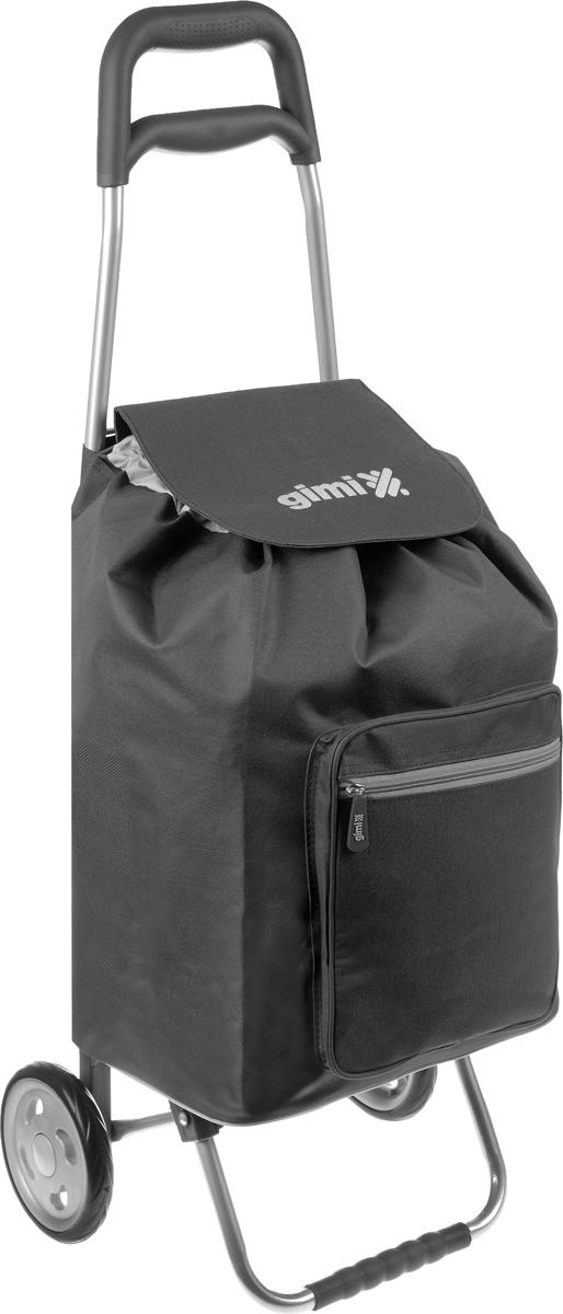 Сумка-тележка Gimi Argo, цвет: черный, серый, 45 л1551550020000Хозяйственная сумка-тележка Gimi Argo выполнена из высококачественного полиэстера со стальным каркасом. Она оснащена 1 вместительным отделением, закрывающимся на шнурок. Спереди расположен карман на застежке-молнии. Сумка водоустойчива, оснащена 2 колесами, обеспечивающими удобство транспортировки. Для компактного хранения сумку можно сложить.Максимальная нагрузка: 30 кг.
