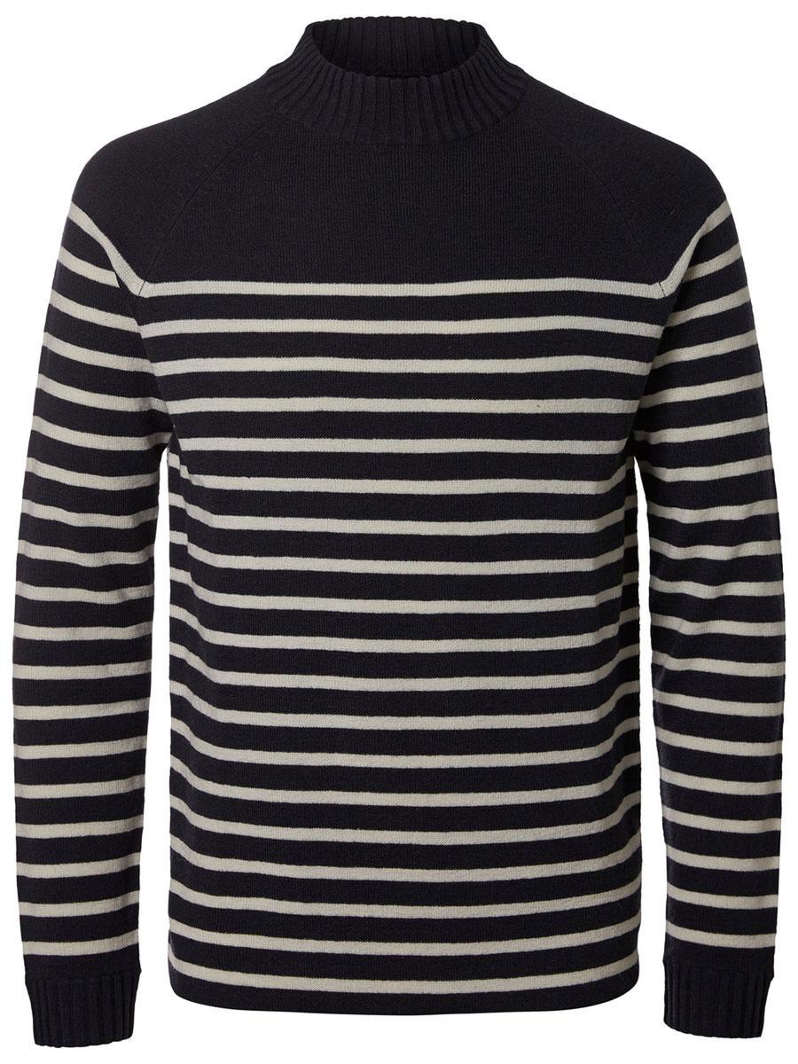 Свитер мужской Selected Homme, цвет: темно-синий, белый. 16053478. Размер XL (50) пуловер мужской selected homme identity цвет бордовый 16051696 размер l 48