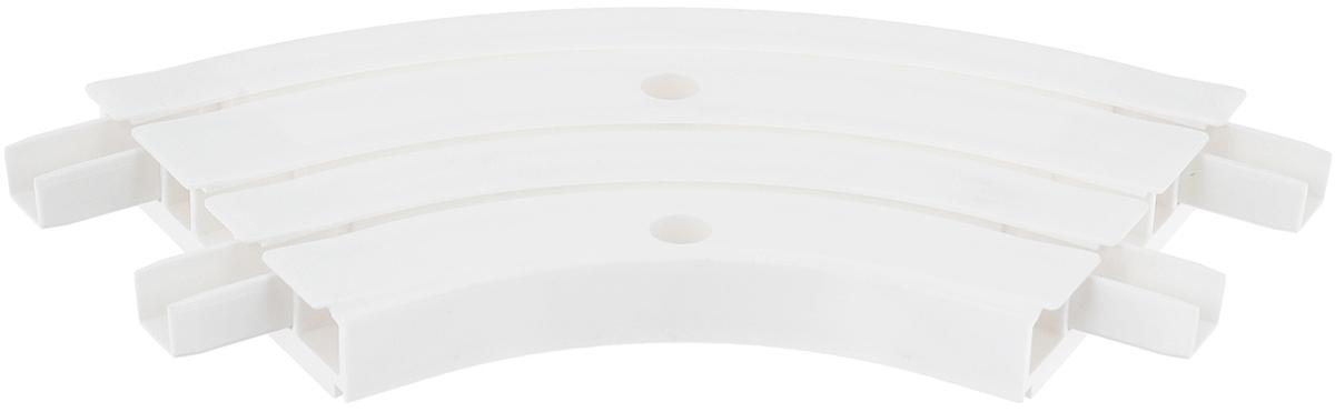 Закругление для потолочной шины Эскар, внутреннее, трехрядное, 120°21203Внутреннее закругление Эскар является дополнительным элементом карниза, которое служит для создания поворота потолочного профиля на 120°. Изделие обеспечивает удобство в использовании всей конструкции карниза. Оно изготавливается из высокопрочного и экологически безопасного пластика. Качественное сырье гарантирует прочность профиля и неизменный цвет на протяжении многих лет. Закругление имеет три ряда и предназначено для потолочного шинного карниза. Ширина закругления: 8,8 см.Высота закругления: 1,7 см.