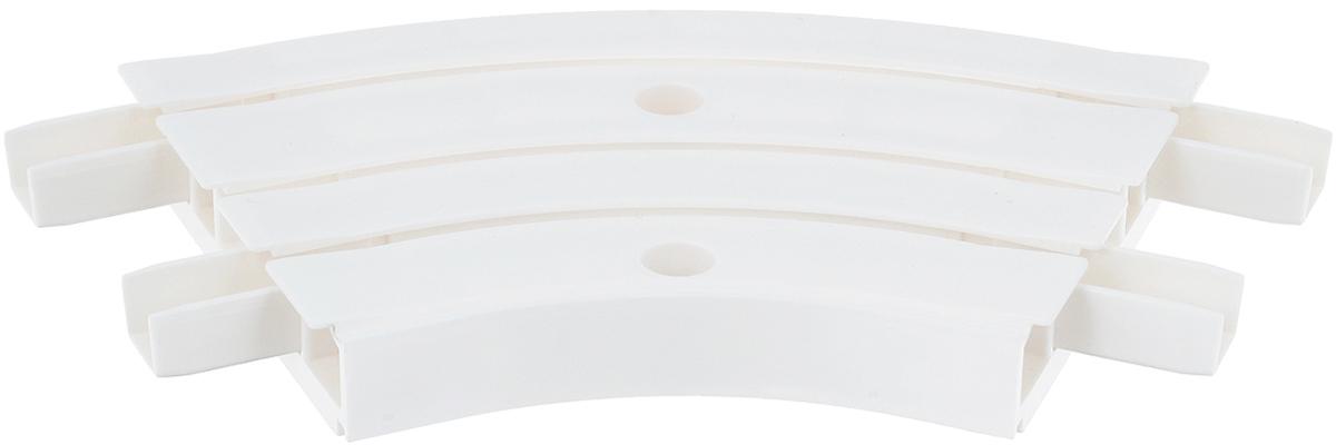 """Внутреннее закругление """"Эскар"""" является  дополнительным элементом карниза, которое служит  для создания поворота потолочного профиля на 135°.  Изделие обеспечивает удобство в использовании всей  конструкции карниза. Оно изготавливается из  высокопрочного и экологически безопасного пластика.  Качественное сырье гарантирует прочность профиля и  неизменный цвет на протяжении многих лет.  Закругление имеет три ряда и предназначено для  потолочного шинного карниза.  Ширина закругления: 8,8 см. Высота закругления: 1,7 см."""