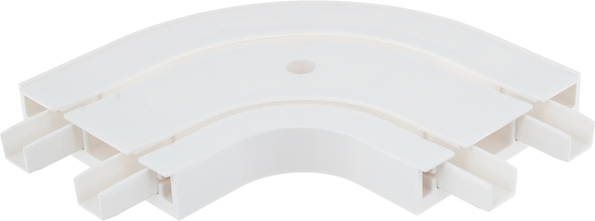 """Наружное закругление """"Эскар"""" является  дополнительным элементом карниза, которое служит  для создания поворота потолочного профиля.  Изделие обеспечивает удобство в использовании всей  конструкции карниза. Оно изготавливается из  высокопрочного и экологически безопасного пластика.  Качественное сырье гарантирует прочность профиля и  неизменный цвет на протяжении многих лет.  Закругление имеет два ряда и предназначено для  потолочного шинного карниза.  Ширина закругления: 7,8 см. Высота закругления: 1,7 см."""