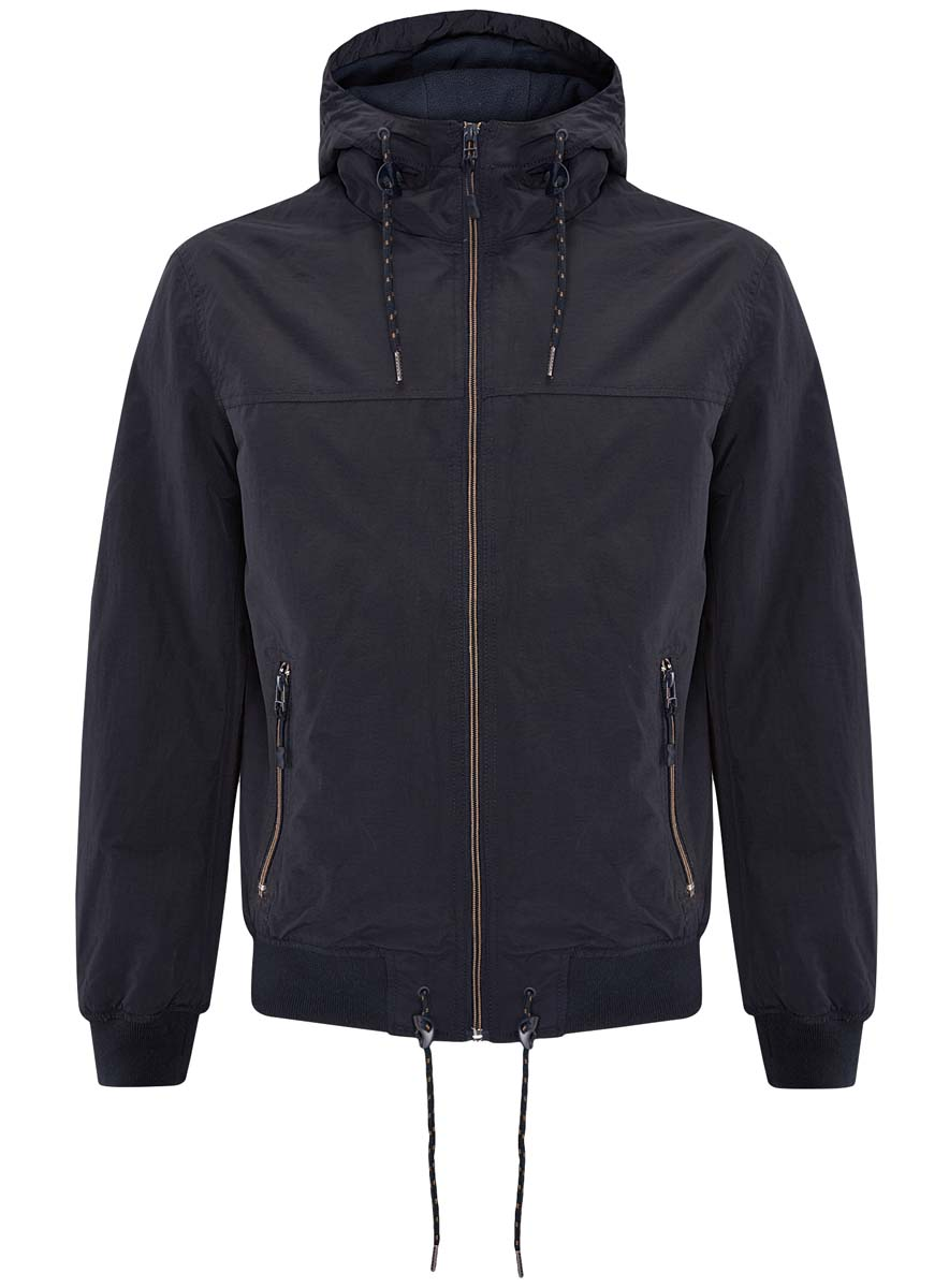 Куртка мужская oodji, цвет: темно-синий. 1L512014M/25276N/7900N. Размер L (52/54-182)1L512014M/25276N/7900NМужская куртка oodji выполнена из 100% полиэстера. В качестве подкладки также используется полиэстер. Модель с несъемным капюшоном застегивается на застежку-молнию. Край капюшона дополнен шнурком-кулиской. Низ рукавов и низ изделия обработаны эластичными манжетами. Низ изделия также дополнен шнурком-кулиской. Спереди расположено два прорезных кармана на застежках-молниях, а с внутренней стороны - прорезной карман на застежке-молнии.