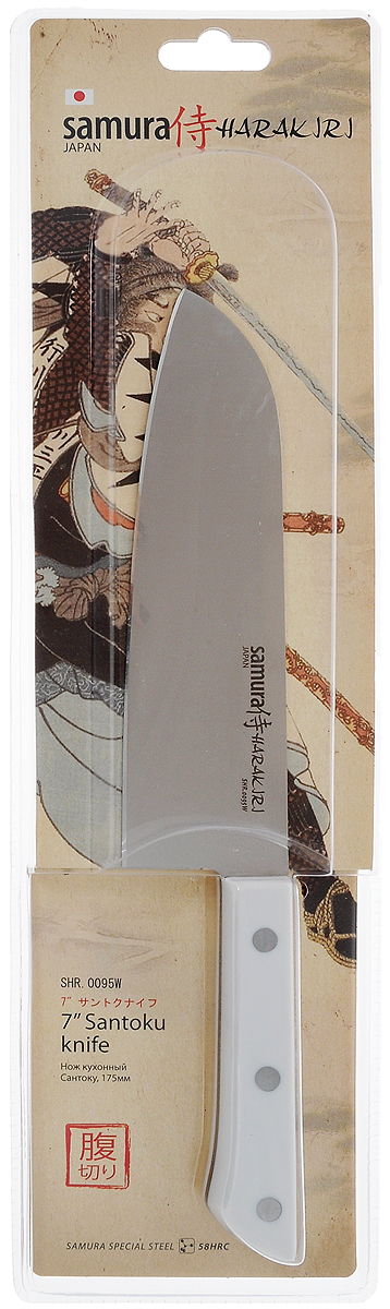 Нож сантоку Samura Harakiri, цвет: стальной, белый, длина лезвия 17,5 смSHR-0095W_белая рукояткаНож сантоку Samura Harakiri изготовлен из высококачественной нержавеющей стали. Очень удобная и эргономичная рукоятка, выполненная из ABS-пластика, обеспечит безопасность при нарезке продуктов. Нож предназначен для нарезки мяса и других продуктов. Такой нож займет достойное место среди аксессуаров на вашей кухне. Не рекомендуется мыть в посудомоечной машине.Общая длина ножа: 29 см.