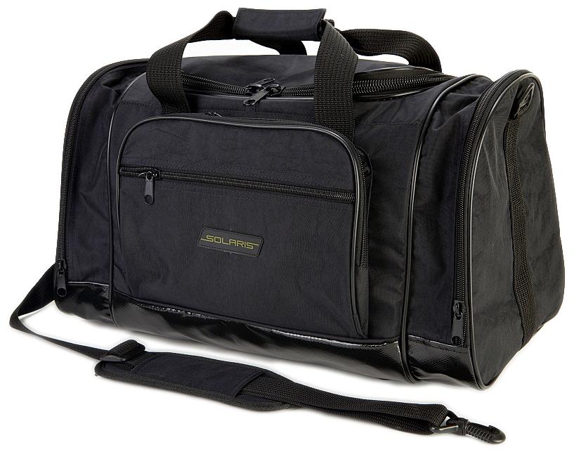 Сумка дорожная Solaris S5113, с тентовым дном, 36 л, цвет: черныйS5113Самая компактная дорожная сумка из высококачественной армированной непромокаемой ткани, отлично подойдет для поездок на охоту и рыбалку, пикников, командировок, занятий спортом, автопутешествий. Днище сумки сделано из высокопрочной водонепроницаемой тентовой ткани, что обеспечивает дополнительную защиту от повреждений - из такой ткани изготавливают тенты грузовиков.Сумка имеет 5 отделений: основное отделение, два больших торцевых кармана, два накладных боковых кармана.Общий объем сумки: 36 литров. Размер: 49 х 26 х 28 см.