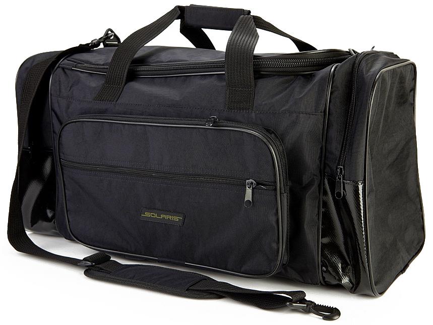 Сумка дорожная Solaris S5109, с тентовым дном, 52 л, цвет: черныйS5109Большая дорожная сумка Solaris из высококачественной армированной непромокаемой ткани Stone Washed (жатка), идеально подойдет для поездок на охоту и рыбалку, пикников, длительных командировок, занятий спортом, автопутешествий, а также для проведения отпуска. Днище сумки сделано из высокопрочной водонепроницаемой тентовой ткани, что обеспечивает дополнительную защиту от повреждений - из такой ткани изготавливают тенты грузовиков. Сумка имеет 5 отделений: основное отделение, два больших торцевых кармана, два накладных боковых кармана. Общий объем сумки: 52 литра.Размер: 62 х 30 х 28 см.