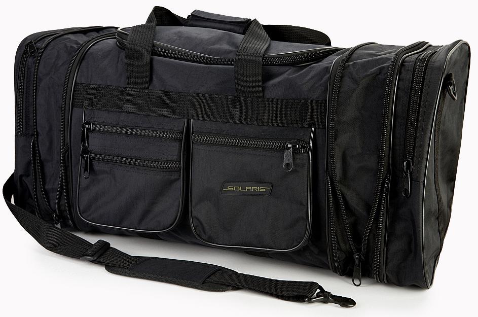 Сумка дорожная Solaris S5110, с изменяемым объемом, 60-75 л, цвет: черныйS5110Большая дорожная сумка Solaris из высококачественной армированной непромокаемой ткани. Модель с изменяемым объемом, идеально подойдет для поездок на охоту и рыбалку, пикников, длительных командировок, занятий спортом, автопутешествий, а также для проведения отпуска. Сумка имеет 6 отделений: основное отделение с дополнительными секциями, два больших торцевых кармана, три накладных боковых кармана для мелких вещей. В торцах основного отделения есть дополнительные секции на молниях, которые позволяют увеличить объем сумки на 15 литров. При этом, если дополнительные секции не используются, сумка остается достаточно компактной. Общий объем сумки: 60-75 литров. Размер: 59-73 х 32 х 32 см.