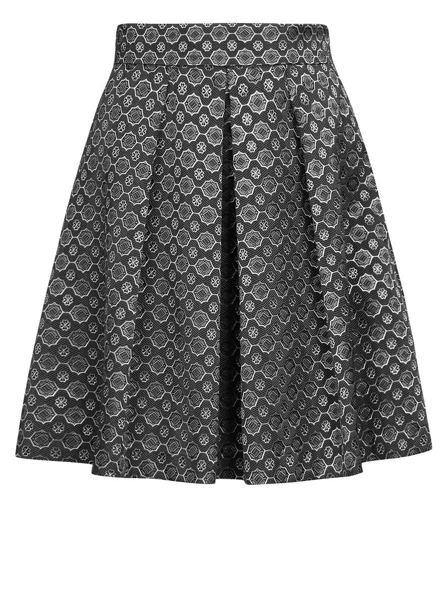 Юбка oodji Ultra, цвет: темно-серый, серебристый. 11600396-3/45935/2529G. Размер 38 (44-170) юбка oodji collection цвет черный карамельный 21600297 1 43561 294bl размер 38 44 170