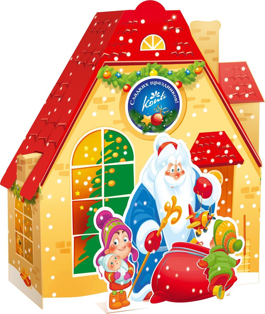 Конти рус Новогодний подарок 2016 Марьино, 700 г13949Вы когда-нибудь задумывались, как выглядит дом Деда Мороза?Может быть, именно так: сказочно, загадочно и очень ярко.Подарите ребенку этот подарок, и его, кроме сладостей,будет ждать еще и приятный сюрприз внутри.