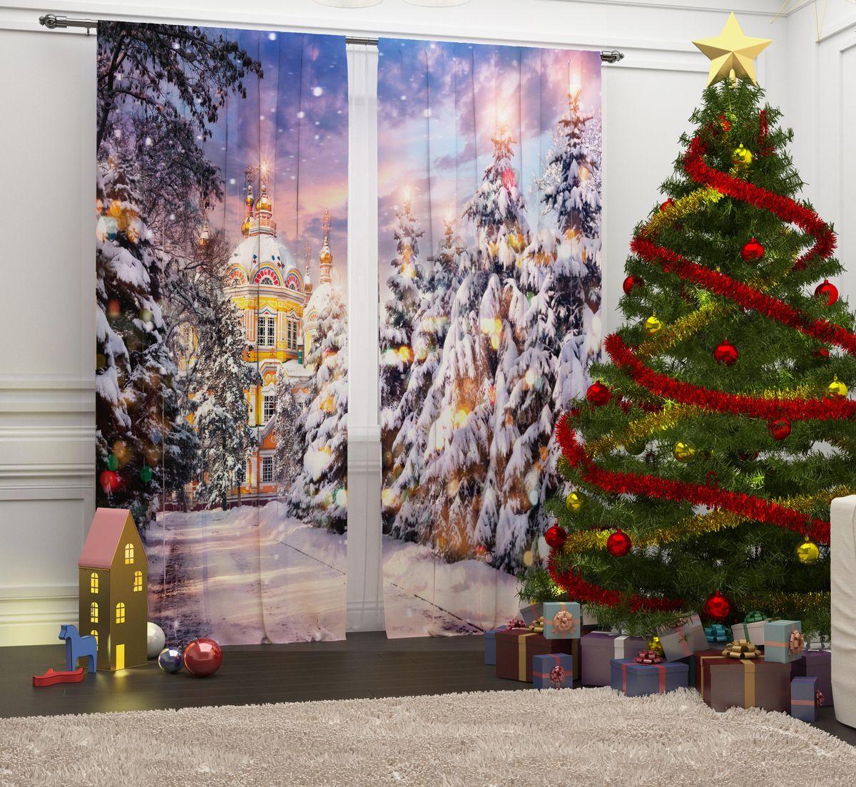 Комплект фотоштор Сирень Зимняя аллея, на ленте, высота 260 см зимняя резина на оку в москве