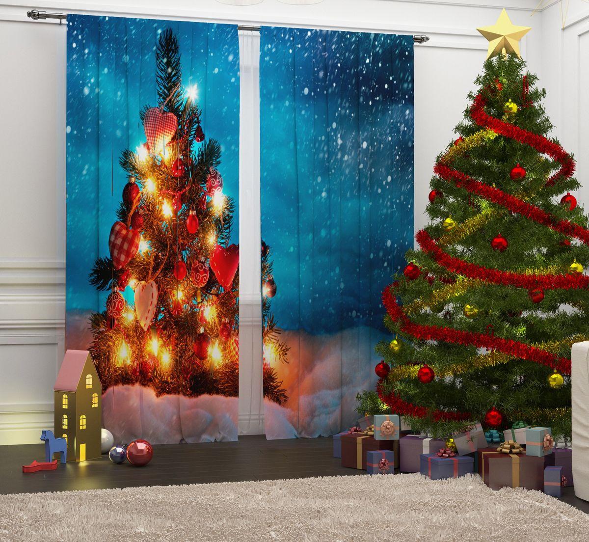 Фотошторы Сирень Рождественские огни, на ленте, высота 260 см