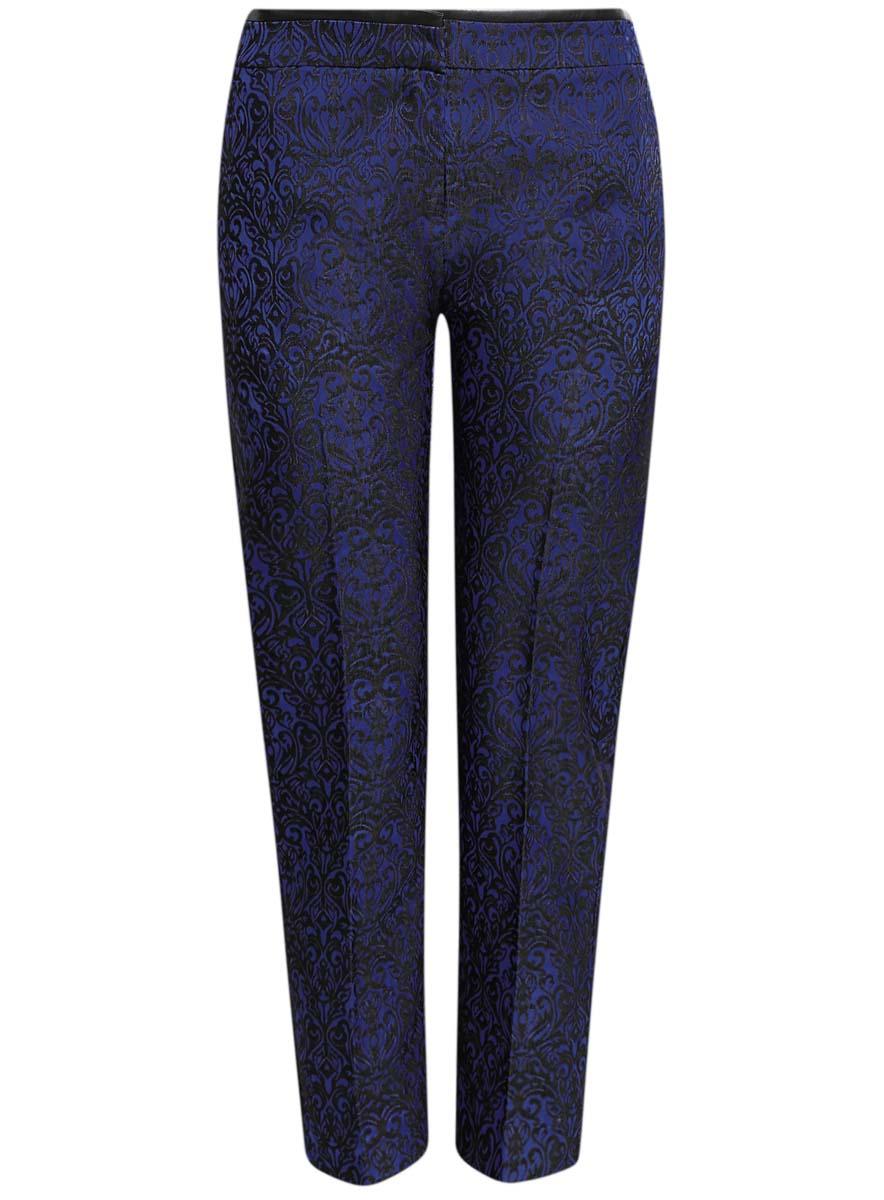 Брюки женские oodji Collection, цвет: синий, черный. 21709006-1/38560/7529J. Размер 42-170 (48-170) платье oodji collection цвет красный 24007026 37809 4500n размер l 48