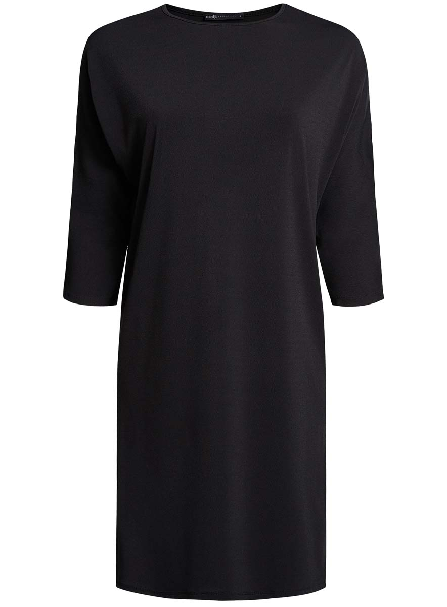 Платье oodji Collection, цвет: черный. 24008311/46064/2900N. Размер L (48) юбка oodji collection цвет черный карамельный 21600297 1 43561 294bl размер 38 44 170