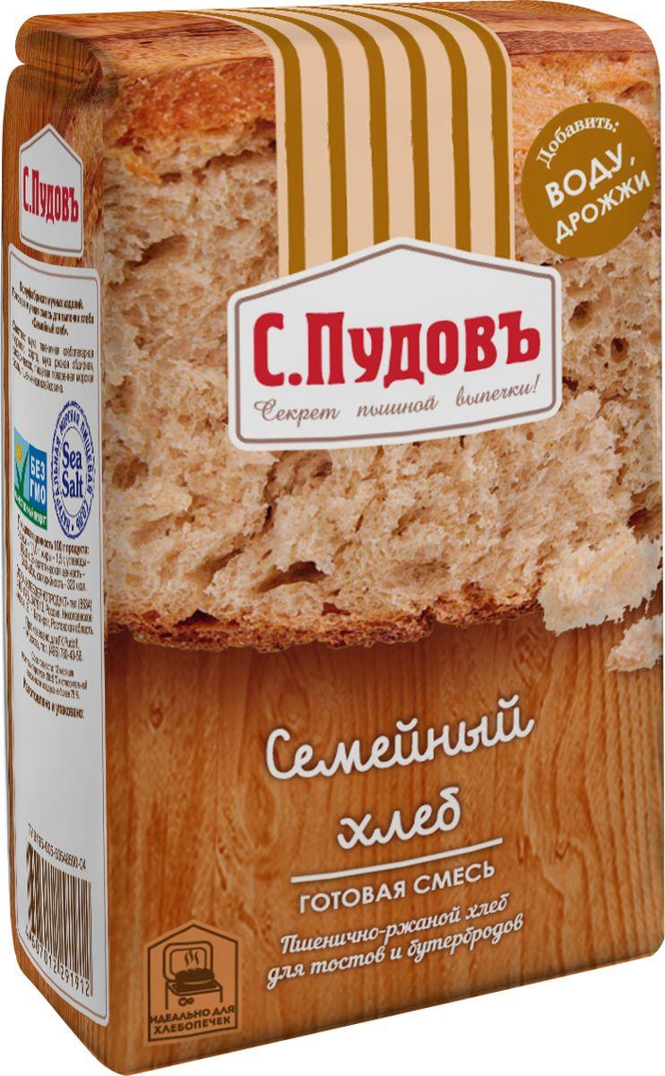 Пудовъ Семейный хлеб, 500 г пудовъ льняной хлеб 500 г