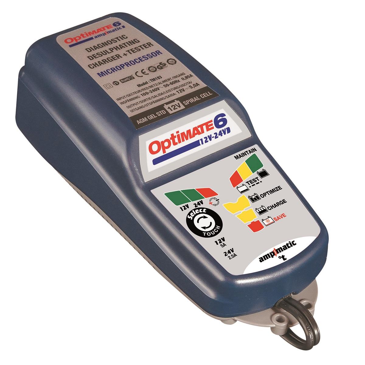 Зарядное устройство OptiMate 6, 12/24V. TM194TM194Многоступенчатое зарядное устройство Optimate от бельгийской компании TecMate с режимами тестирования, восстановления глубокоразряженных аккумуляторных батарей, десульфатации и хранения. Управление автоматическое AmpmaticTM микропроцессор, переключение режимов 12В и 24В сенсорной кнопкой. Заряжает все типы 12В и 24В свинцово-кислотных аккумуляторных батарей, в т.ч. AGM, GEL. Защита от короткого замыкания, переполюсовки, искрообразования, перегрева. Оптимизирует срок службы и здоровье аккумуляторной батареи. Гарантия 3 года (замена на новое изделие). Влагозащищенный корпус. Рекомендовано 10-ю ведущими производителями мототехники. Optimate 6 рекомендуется для АКБ до 240 Ач - 12В, до 100Ач - 24В. Ток заряда: 0,4-5,0А для 12В; 0,4-2,5А для 24В. Старт зарядки АКБ от 0,5В. Температурный режим: -40...+40°С. В комплект устройства входят аксессуары: O11 кольцевой разъем постоянного подключения и O4 зажимы типа крокодил.