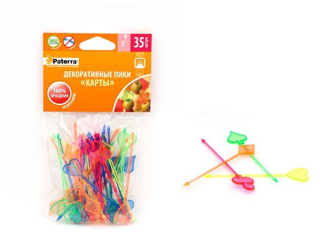 """Набор Paterra """"Карты"""", изготовленный из полистирола, состоит из 35 пиков для канапе.  Канапе созданы для утоления легкого голода на фуршетах. А еще эти крохотные  бутерброды могут стать украшением всего торжества. Конечно, если и сами они  оформлены должным образом. Например, украшены этими замечательными  пиками. Такой набор идеально подойдет для оформления детского канапе, а также для  тарелки с фруктами! Длина пика: 9 см."""