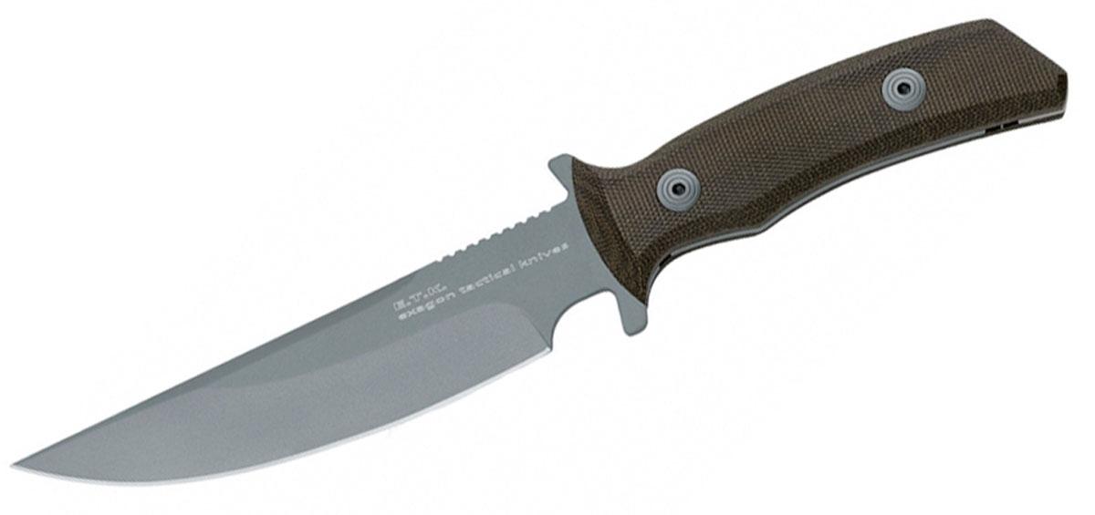 Нож Fox Exagon Tactical, малый, цвет: серый, зеленый, длина клинка 14 см. OF/FX-1666TKROF/FX-1666TKRПодходящая длина клинка в 140 мм (при общей длине 250 мм) и его толщина в 3,7 мм великолепно подходят для того, чтобы резать, рубить или разделывать тушу.Твердость стали по марке HRC 56-58 позволяет легко использовать его в любой ситуации, не опасаясь, что он подведет.Рукоятка American Canvas Micarta Green удобно лежит в ладони и не скользит, даже если не используются специальные кожаные перчатки.