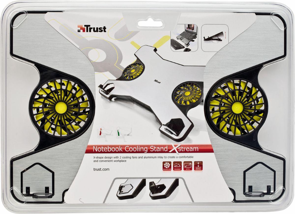 Trust Xstream Notebook Cooling Stand, Silver Blackохлаждающая подставка для ноутбука Trust