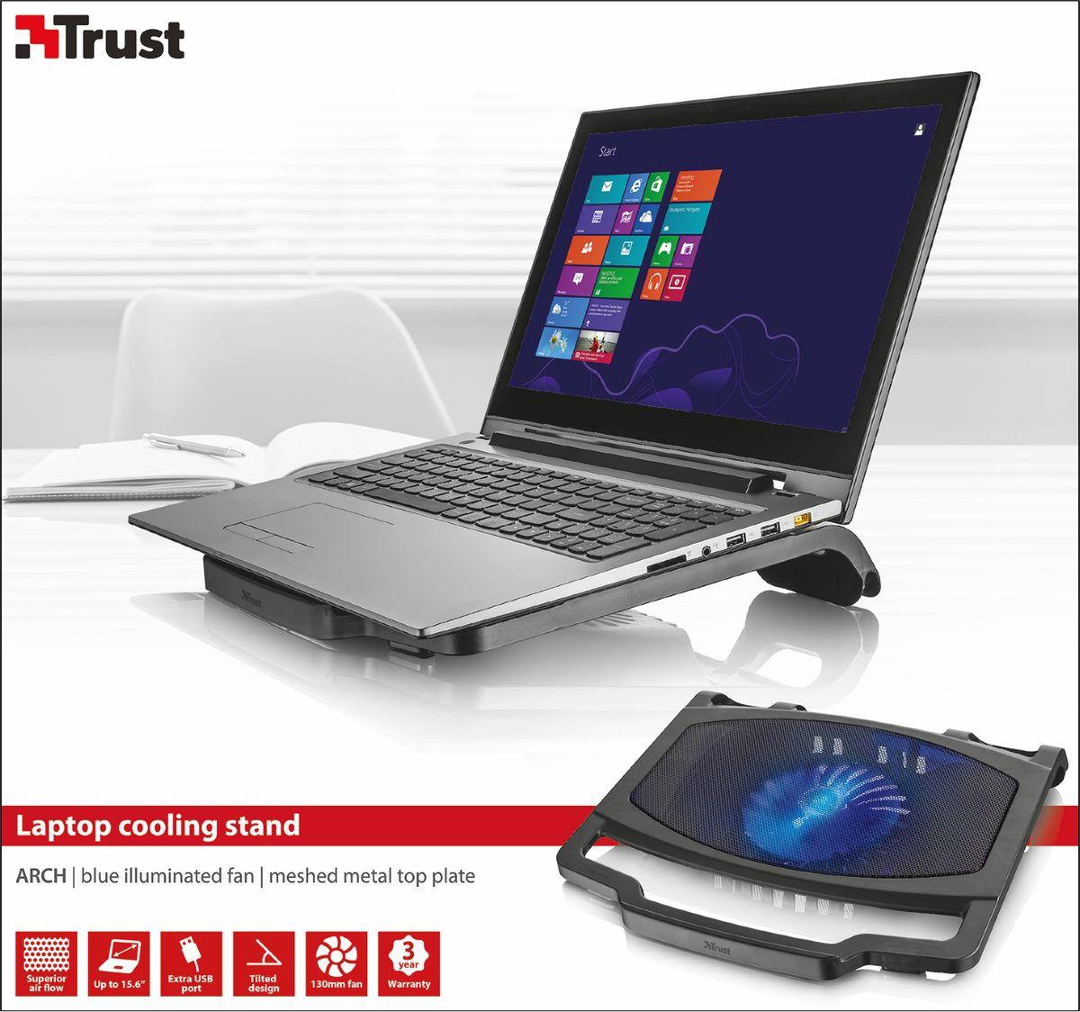 Trust Arch Laptop Cooling Stand, Blackохлаждающая подставка для ноутбука Trust