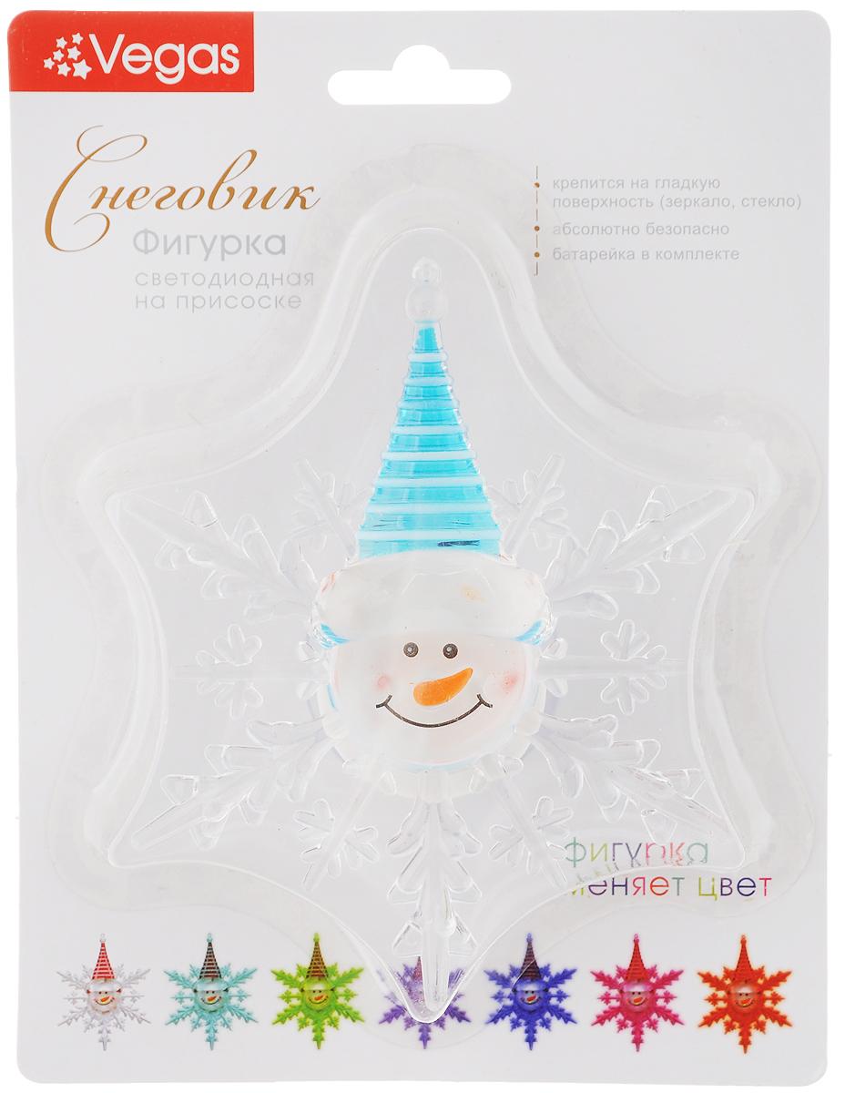 Украшение новогоднее Vegas Снеговик, со светодиодной подсветкой, на присоске, 10 х 12 см украшение новогоднее magic time снеговики со светодиодной подсветкой на присоске 10 5 x 10 x 3 см