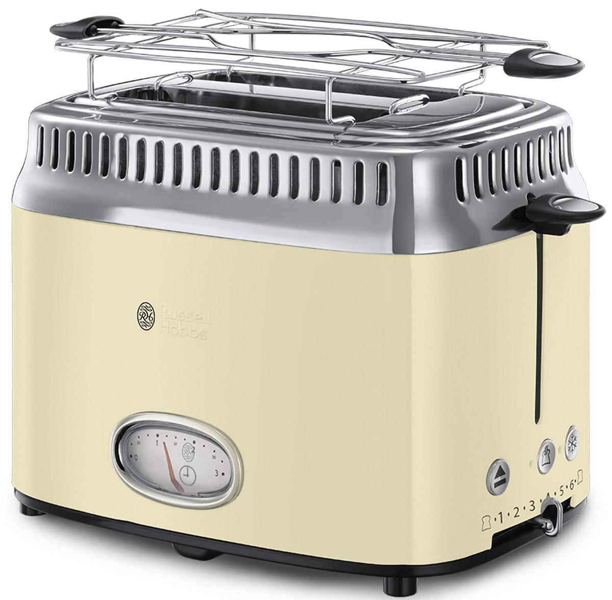 Russell Hobbs Retro, Vintage Cream тостер21682-56Новинка сезона Осень-Зима 2016 года, тостер Russell Hobbs Retro входит в коллекцию приборов для Завтраков Retro, которая включает в себя еще и Чайник и Кофеварку. Если вы любите тосты, эта привлекательная модель тостера предоставит вам такое удовольствие в полной мере.Предпочитаете слегка подогретый хлеб или тосты с поджаристой хрустящей корочкой? Выберите нужную степень поджарки тостов и наслаждайтесь результатом. Стильная винтажная шкала обратного отсчета времени приготовления наглядно отображает время до готовности тостов. Хороший завтрак это начало хорошего дня, но времени на завтрак всегда критично мало. Понимая это, Russell Hobbs оснастил новые тостеры Retro технологией быстрого приготовления, которая сбережет ценные минуты с утра. Функция lift and look позволяет проверить готовность тостов, не прерывая процесс приготовления. В комплект к тостеру входит удобная решеточка для подогрева круассанов, бейглов и сэндвичей, а выдвижной лоток для сбора крошек поможет сохранять чистоту прибора.