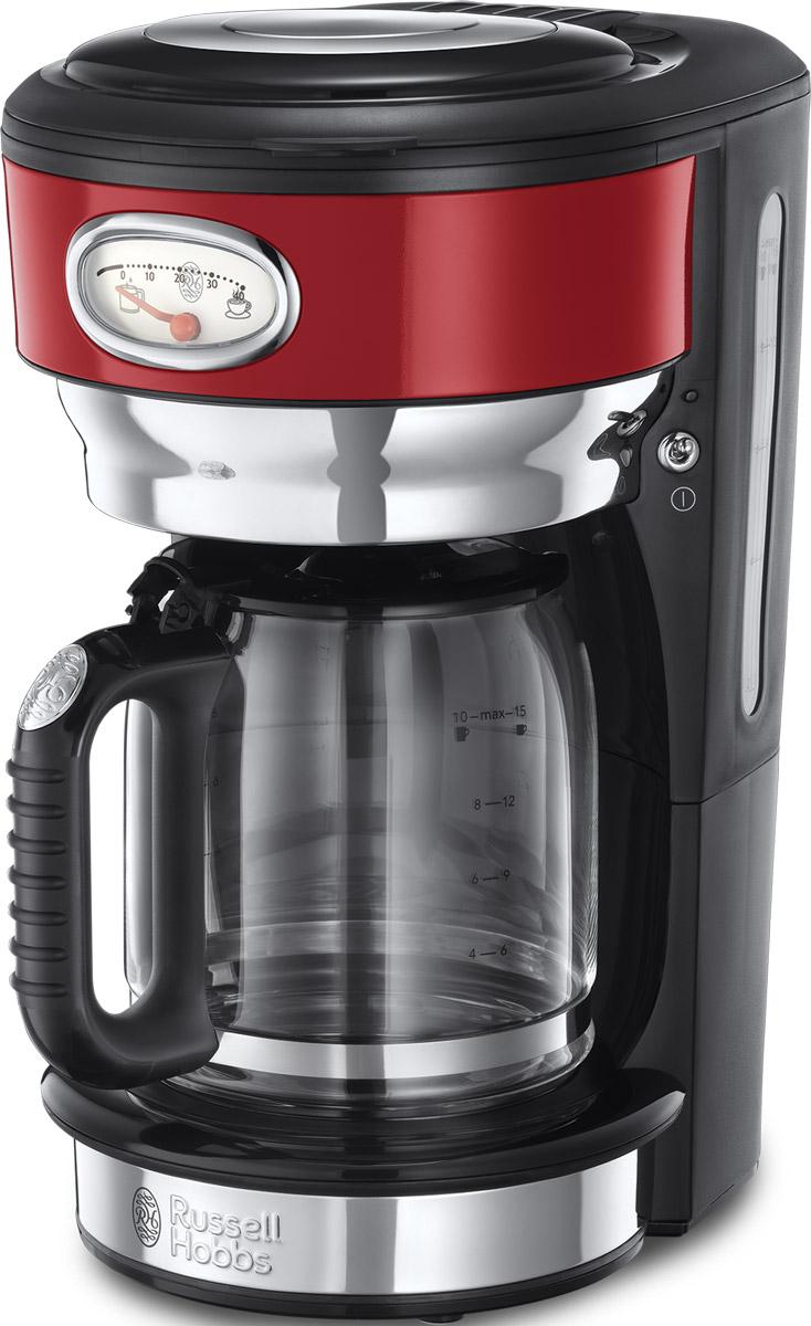Russell Hobbs Retro, Ribbon Red кофеварка21700-56Потрясающий дизайн кофеваркиRetro Ribbon Red станет особо любимым предметом на кухне ценителей кофе. Несмотря на винтажную внешность, эта модель оснащена всеми современными технологиями для качественного приготовления настоящего кофе с превосходным вкусом. В кофеварке используется усовершенствованная система заваривания кофе для улучшенной экстракции кофеина и аромата. Вода впрыскивается в резервуар с молотым кофе через несколько отверстий, в виде душа, полностью пропитывая весь объем кофе, что обеспечивает эффективное заваривание и как результат кофе получается с насыщенным вкусом и ароматом. Функция подогрева готового кофе позволитвам насладиться второй или даже третьей чашечкой любимого горячего напитка. Чтобы кофе был сбалансирован по вкусу, необходимо соблюдать правильную пропорцию, для этого в комплекте есть мерная ложечка на идеальную порцию кофе. Насыпайте в фильтр столько ложек кофе, сколько порций вы хотите приготовить. Кофеварка коллекции Retro оснащена стильной шкалой процесса заваривания кофе и времени сохранения наилучшего вкуса готового кофе. Это не только стильная фишка в кофеварке, но и любопытное напоминание о том, что кофе лучше выпить в течение определенного времени, ведь со временем вкус и аромат готового напитка теряется. Функция Пауза позволит вам не ждать пока приготовится весь объем кофе и насладиться первой чашечкой свежесваренного кофе в любой момент.Как выбрать кофеварку. Статья OZON Гид