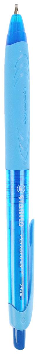Stabilo Ручка шариковая Performer + цвет чернил синий цвет корпуса синий голубой328/41-1B_синий, голубойАвтоматическая шариковая ручка Stabilo Performer + с привлекательным дизайном и ярким цветовым решением корпуса.Улучшенная формула чернил, и особая технология обжатия шарика обеспечивают ручке исключительное качество письма. Она долго пишет благодаря увеличенному запасу чернил и возможности замены стержня. Рифленая зона обхвата фиксирует пальцы, предотвращая их скольжение, и снижает напряжение кисти при письме.Цвет чернил - синий.