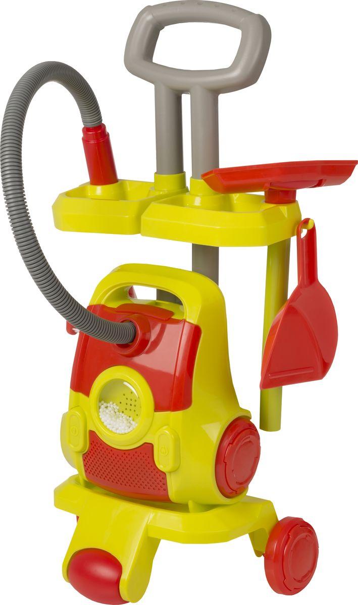 HTI Тележка с пылесосом и аксессуарами цвет красный салатовый серый hti игрушка набор для уборки zanussi
