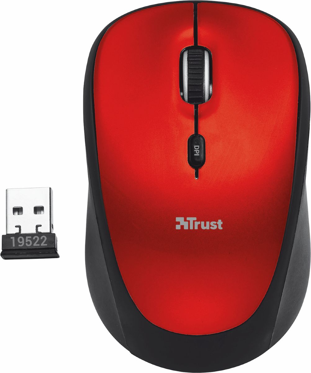 Trust Yvi Wireless Mouse, Black Red мышь qisan x5 6 button 800 1600 2000dpi usb wired gaming mouse w 7 led backlight black