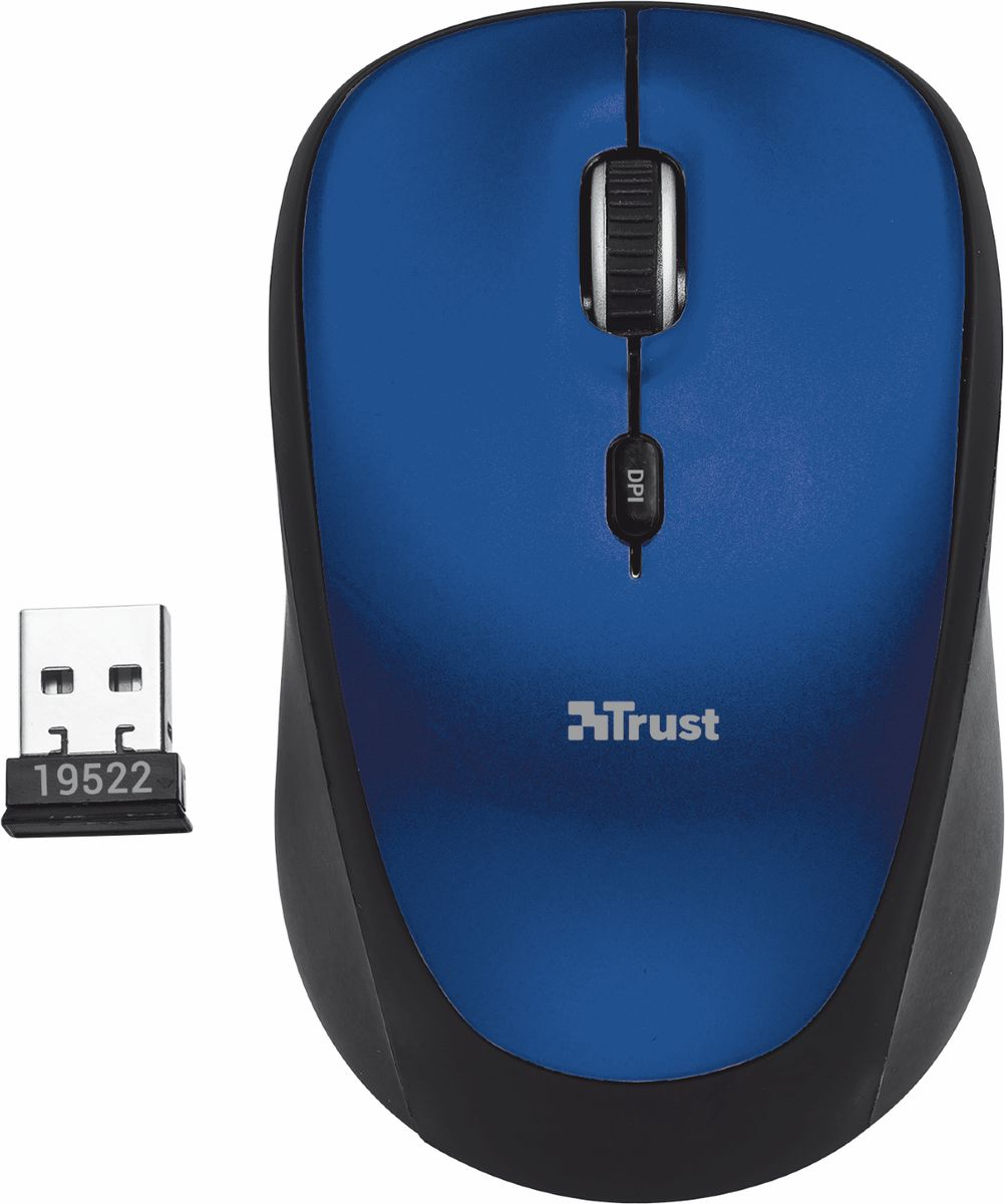 все цены на Trust Yvi Wireless Mouse, Black Blue мышь онлайн