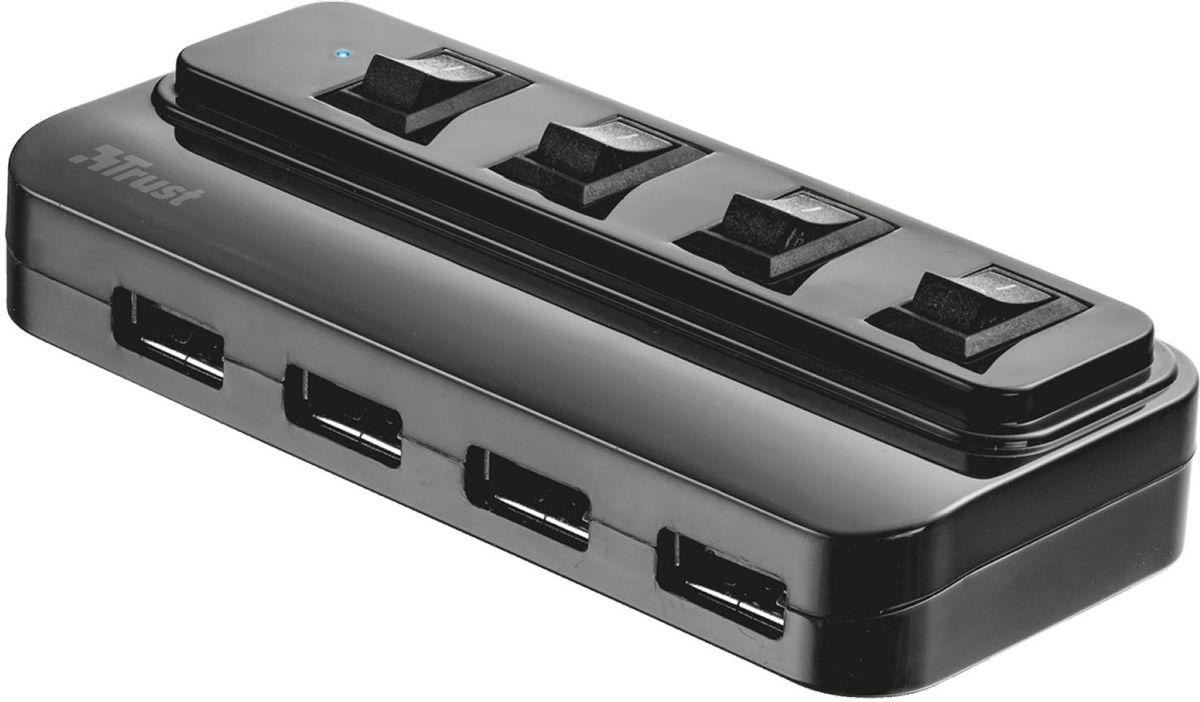 Trust 4 Port USB 2.0 Hub, Black USB-разветвитель